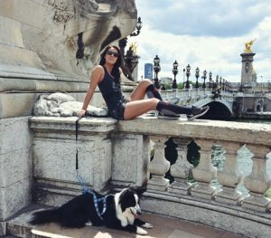 Andreea et Whiskey canicross à Paris